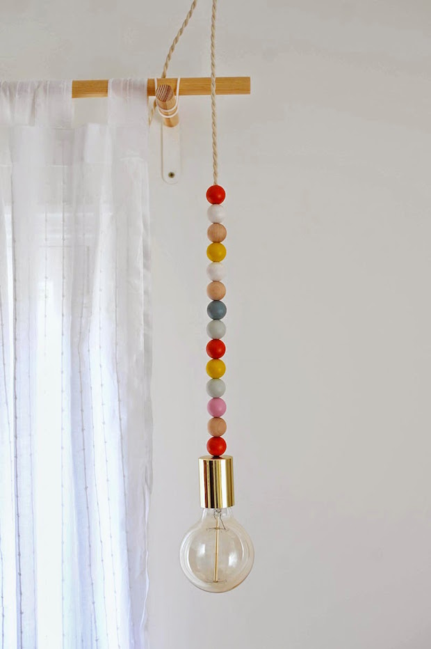 DIY Lighting: Wooden Bead Pendant Light