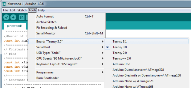 Figure 14. Configuring the Arduino IDE for the Teensy board.