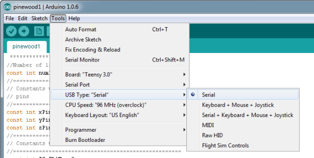 Figure 15. Configuring the Arduino IDE for serial connection.