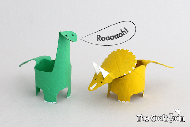 Kid Crafts Toilet Paper Roll Dinosaurs Make