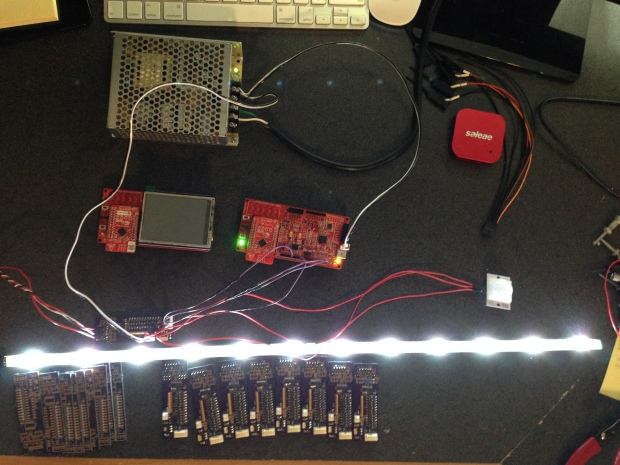 LED Stair Lighting System This is a project is a stair lighting control system made using two Cypress CY8CKIT-042-BLE PSoC kits along with a few LED lighting kits and some custom made controller boards. My lovely wife and I found some Sylvania Mosaic LED lighting kits with flexible light strips (Thanks Costco!) and she asked if it was possible to use this to light up our stairs while we are in the progress of remodelling. Challenge accepted!  Visit the Gallery to vote for this project.