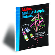 """This project is excerpted from <a href=""""http://www.makershed.com/products/making-simple-robots"""">Making Simple Robots</a><br /> (Maker Media 2015).<br /> On sale now."""