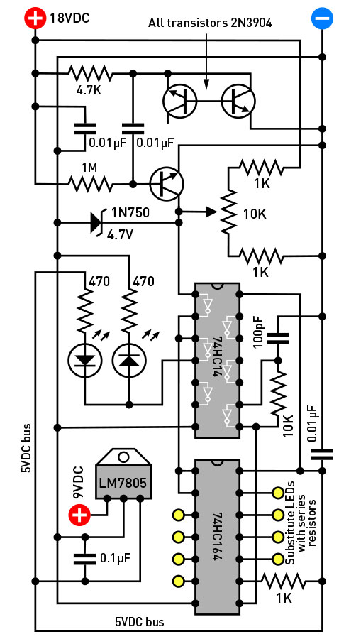 Figure A. In this simple schematic, a reverse-biased transistor generates electrical noise that is amplified by 2 more transistors, digitized through an inverter, and clocked into a 74HC164 shift register, where it can be accessed by a game program.