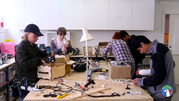 """Kids build their own speakers and one-string guitars at Fab Lab Nordvest in """"hacker school,"""" a classroom elective at schools in Copenhagen."""