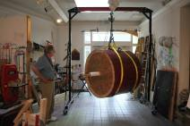 After staining it was time to take it off the form. A student alumni donated a hoist and gantry crane to us. This made lifting and moving the drum much easier and safer. We estimate the drum weighs about 500lbs.