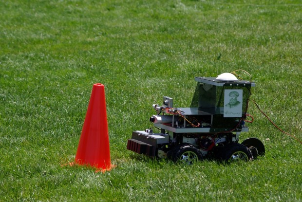 A robomagellan robot can self-navigate through an outdoor course to find a hidden orange cone, at RoboGames. Photo: Daniel Craig