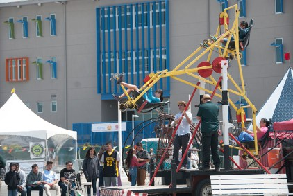 The Bicycle Ferris Wheel is powered entirely by the riders. Contraption by Paul Cesewski.