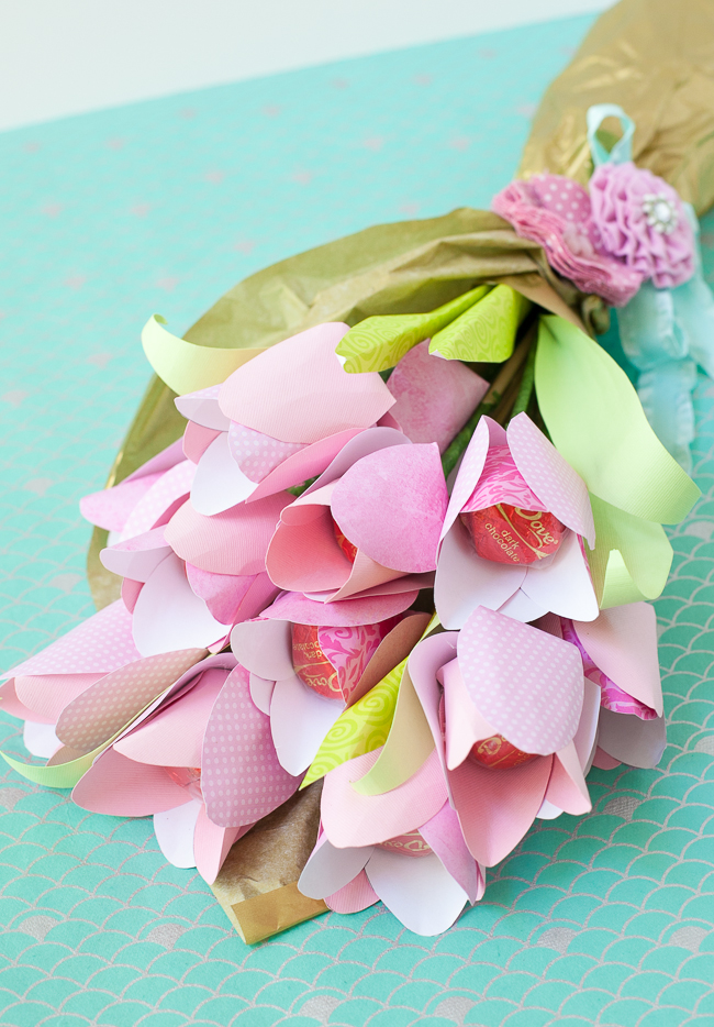 Paper Flowers With Chocolate Centers