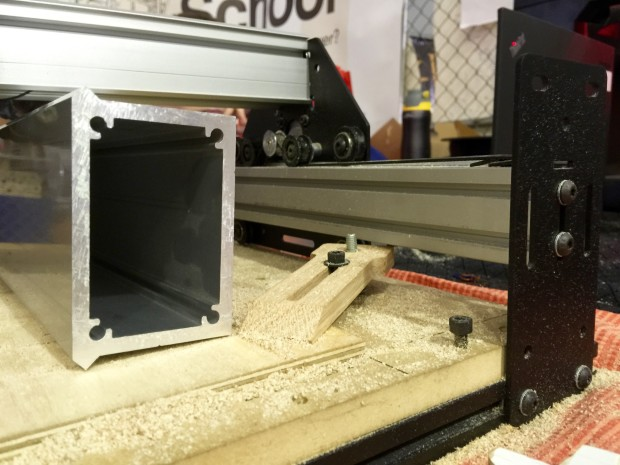 Contrast the extrusion used in Shapeoko 3 (left) and Shapeoko 2 (right).