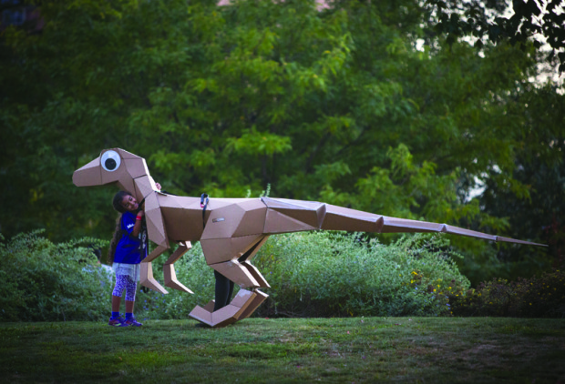 The cardboard constructions at Maker Faire stand out for teachers who come looking for cheap and deep projects they can bring to the classroom.  KitRex's paperboard dinosaurs are a hit with kids, and show them how simple 2D shapes can become something you've only imagined!