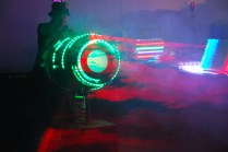 """Attendees lined up to be """"shot"""" by the SteamPunk Mobile Vortex Smoke Ring Blaster."""