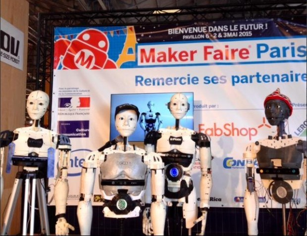 At Maker Faire Paris 2015, five InMoov bots meet up for the first time. Here are four of them. Photo via Alessandro Didonna.