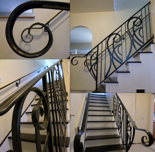 Blacksmith Celeste Flores designed, forged, cut and installed this beautiful handrail.