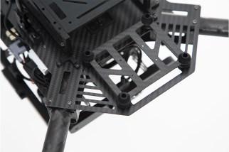 A closeup of the shock-absorbing camera mount platform of the Matrice 100.