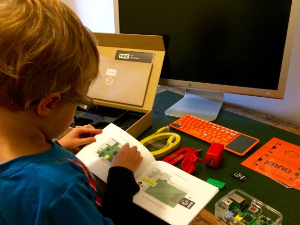 My son Alex, aged six, building his Kano computer.