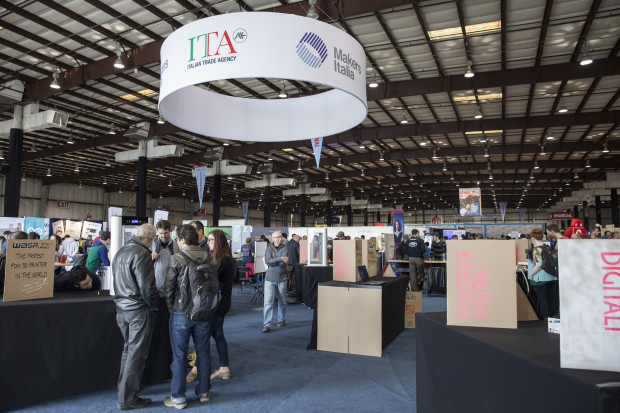 The Italian Trade Agency, and Makers Italia, stand at Maker Faire Bay Area (Credit: Becca Henry)