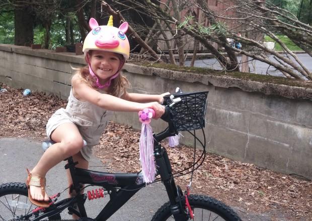 Anna enjoying her custom styled bike.