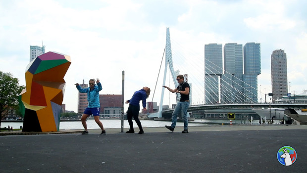 Miriam, Madison, and Tor: silly madults in Rotterdam.