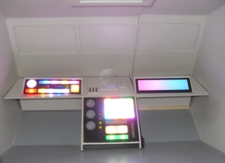 The completed main forward control panels all aglow with their respective NeoPixel RGB LEDs. Each pixel is individually addressable by the Arduino, which means that all sorts of cool effects can be done.