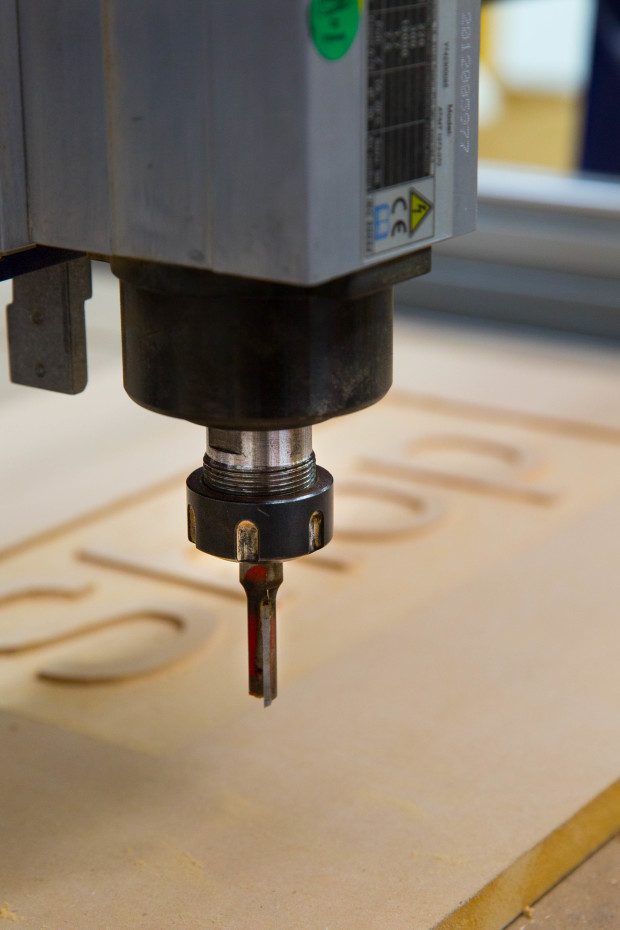 The Spindle is the business end of the CNC router - a high speed rotary tool that holds the cutting bit.