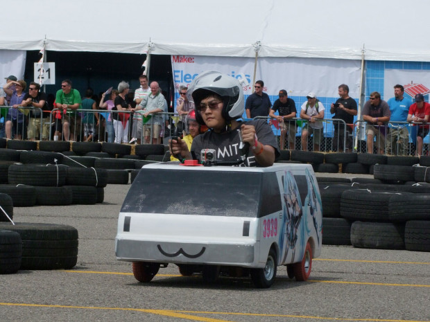Chibi-Mikuvan during a lap at Detroit Maker Faire 2014. Photo credit: Pete Prodoehl