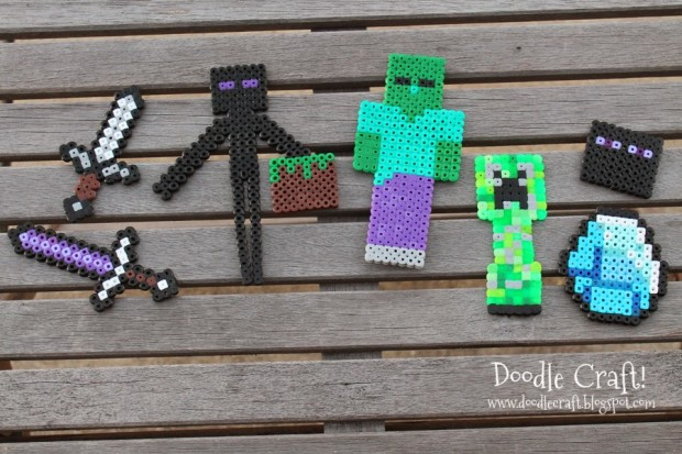 minecraft hama perler melty melt beads plastic easy kids craft creepers zombies swords diamond enderman bricks (1)