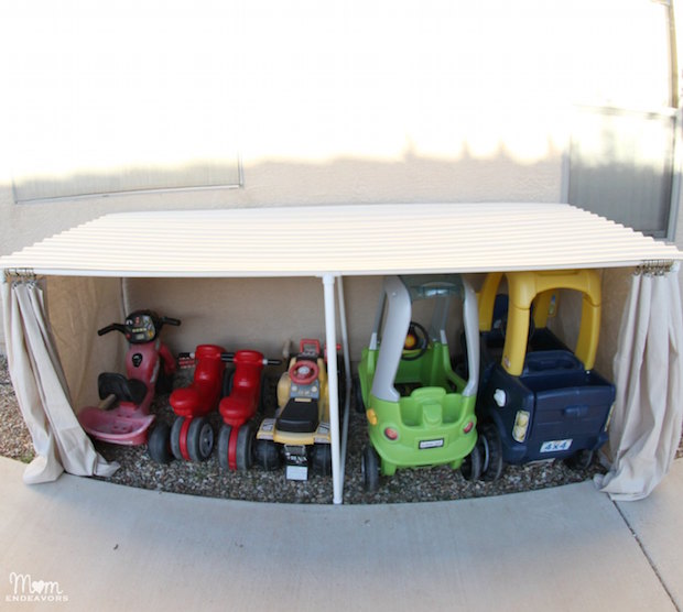 Outdoor Organization: Covered Toy Car and Bike Parking Garage