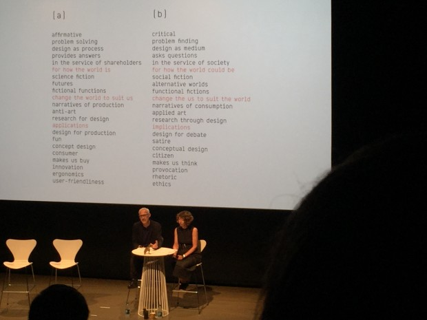 Anthony Dunne and Fiona Raby talk about the differences between Affirmative and Critical Design