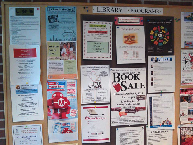 Put up some cards and flyers at your local library, for example.
