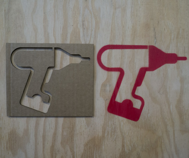 I made a stencil of the mighty cordless drill using vector art and a laser cutter.