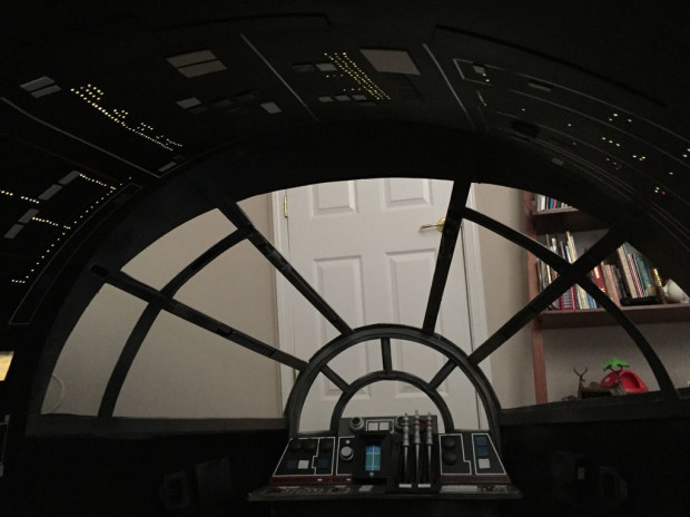 The view from the Millennium Falcon's cockpit.