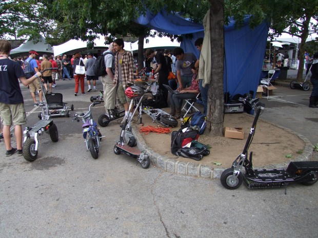 A collection of MIT student vehicles on display at World Maker Faire New York.