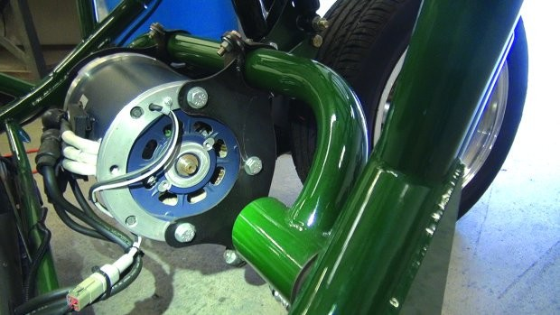 3-phase AC motor attached to swing arm. Photo by Sam Euston.