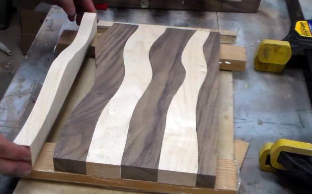 checkered cutting board in pieces