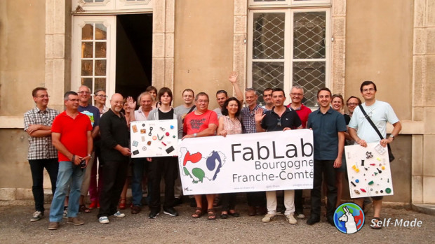 Proud members of the brand new Fab Lab in the rural French town of Beaune.