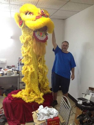 The completed lion is about 2.5m tall!
