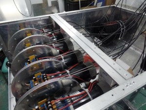 Motors in the base pull on cables to control the motion of the lion.