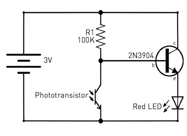 solder a simple dark detecting led circuit make rh makezine com Timer Circuit LDR Circuit