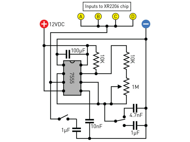 Figure I: A 7555 timer can create pulses and frequencies to control the XR2206 audio chip.