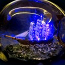 This Modern Ship in a Bottle Is Lit with LEDs and Fiber Optics