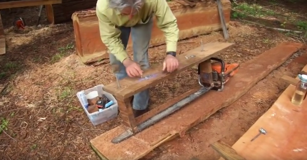 Turning a Log into a Wood Pile with a Simple Alaskan Mill