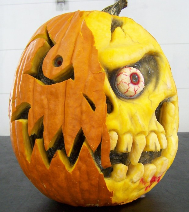 Kenny's 3-D Pumpkin was designed using various gauges, scrappers and knives to achieve a unique look.