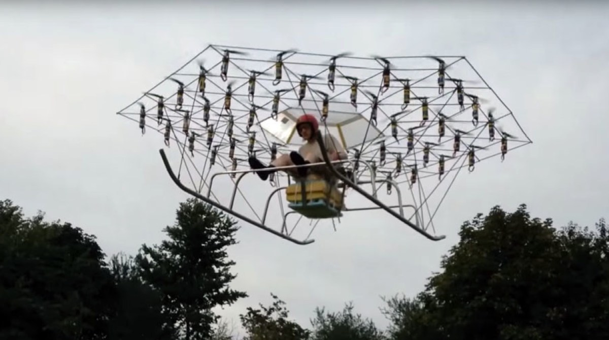 Man Builds Crazed 54-rotor Flying Vehicle