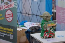Grumpy Yoda guards the candy.