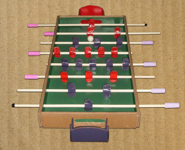 The full layout of the handmade cardboard Foosball table