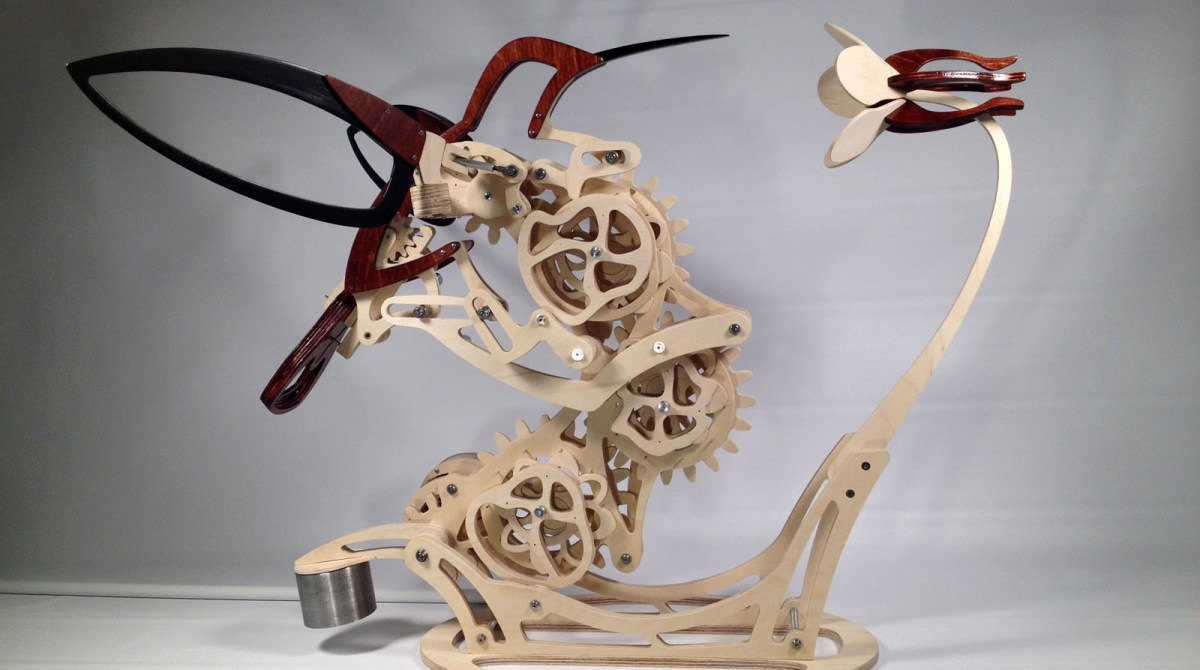 Watch the Life-Like Motion of This Wooden Hummingbird Automaton