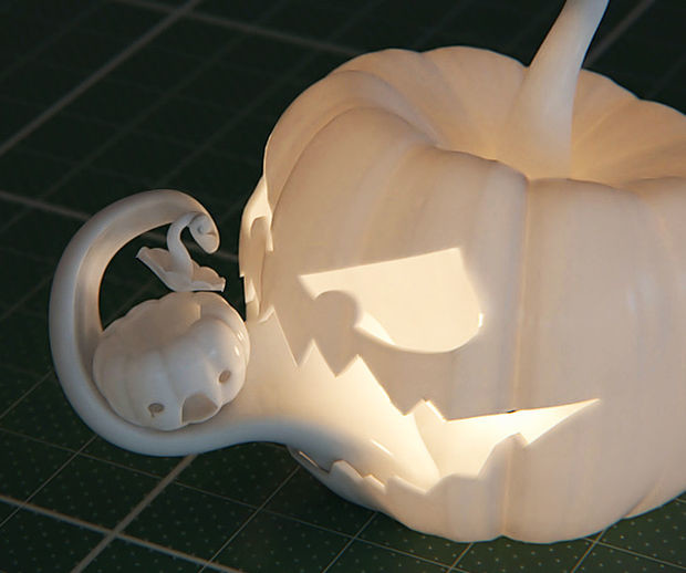 Sebastian Kerner's 3D printed Jack O' Lantern was designed using cinema4D and a whole lot of talent.