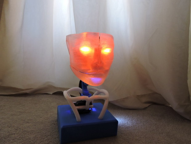 Mike Blakemore's Animated Humanoid Robot Head features a movable mouth, eyes and head.
