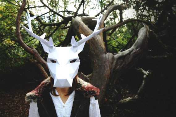 fold amazing geometric animal masks from cardstock make