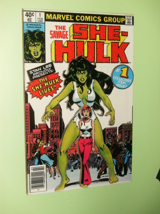 A cardboard multi-level cover of She-Hulk #1